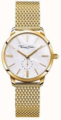 Thomas Sabo Dames glam spirit gold tone mesh armband witte wijzerplaat WA0302-264-213-33