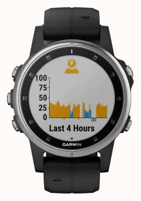 Garmin Fenix ​​5s plus zilveren zwarte rubberen band 010-01987-21