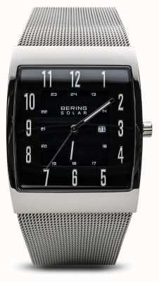 Bering Heren gepolijste zilveren vierkante mesh armband horloge 16433-002