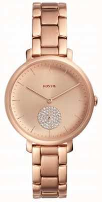 Fossil Womens jaqueline rose gouden toon armband kijken eenvoudige wijzerplaat ES4438