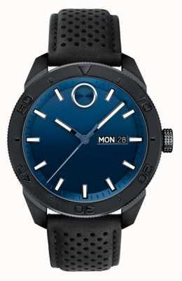 Movado Stevige blauwe wijzerplaat geperforeerde lederen band in zwart 3600495