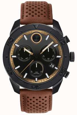 Movado Herenvette chronograaf geperforeerde bruine lederen band 3600515