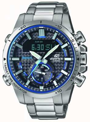 Casio Edifice bluetooth lap timer roestvrij staal blauwe accenten ECB-800D-1AEF