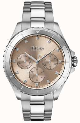 Hugo Boss Dames première bronzen wijzerplaat roestvrij stalen armband 1502444