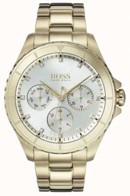 Hugo Boss Dames première vergulde armband zilverkleurige wijzerplaat 1502445