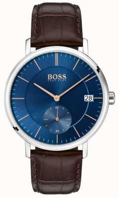 Hugo Boss Bruin lederen band van echt leer blauwe wijzerplaat 1513639