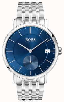 Hugo Boss Heren korporaal roestvrij staal blauwe wijzerplaat 1513642