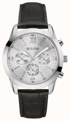 Bulova Heren klassiek chronograaf zwart lederen horloge 96A162