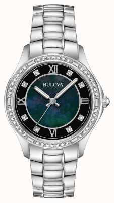 Bulova Dames kristal gezet roestvrij stalen horloge 96L266