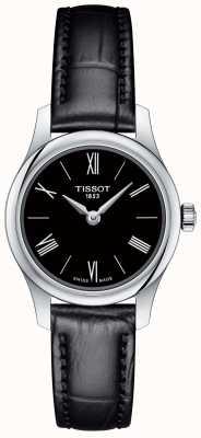 Tissot Womens traditie 5.5 zwarte lederen band zwarte wijzerplaat T0630091605800