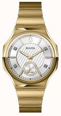 Bulova Unisex curv roestvrij staal verguld horloge 97P136