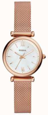 Fossil Dames mini carlie rosegoud mesh armbandhorloge ES4433