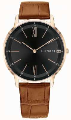Tommy Hilfiger Heren cooper horloge bruin lederen zwarte wijzerplaat band stalen kast 1791516