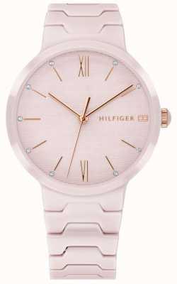 Tommy Hilfiger Dames roze keramieken armband met antiek horloge 1781957