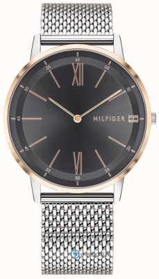Tommy Hilfiger Cooper horloge heren roestvrij stalen gaas armband zwarte wijzerplaat 1791512