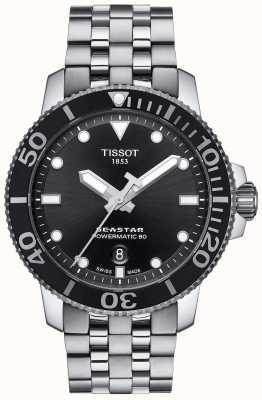 Tissot Mens seastar 1000 powermatic 80 zwarte wijzerplaat roestvrij staal T1204071105100
