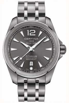 Certina Mens ds actie horloge grijze wijzerplaat roestvrij stalen armband C0328514408700