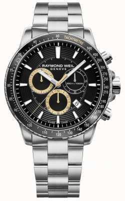 Raymond Weil Heren tango 300 horloge roestvrij stalen armband zwarte chrono 8570-ST1-20701