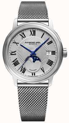 Raymond Weil Mens maestro moonphase horloge roestvrij stalen mesh band 2239M-ST-00659
