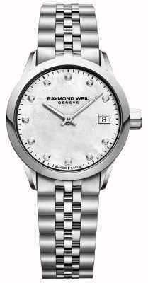 Raymond Weil Womens freelancer parelmoer wijzerplaat diamanten horloge 5626-ST-97081