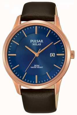 Pulsar Heren rosegouden bruin lederen band PX3164X1