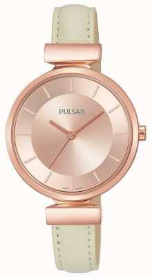 Pulsar Damesroze vergulde creme lederen band PH8418X1