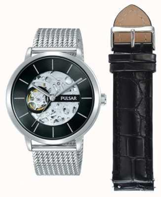 Pulsar Heren roestvrij stalen kast automatische zwarte wijzerplaat horloge set P8A001X2