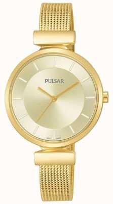 Pulsar Dames goudkleurig roestvrij stalen meshhorloge PH8412X1