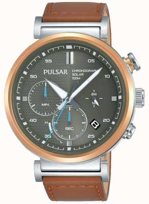 Pulsar Heren rosé vergulde kastgrijs chronograaf wijzerplaat PZ5070X1