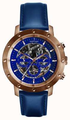 Weird Ape Icarus 3 wijzerplaat blauw rose goud / indigo blauw lederen band WA02-005730
