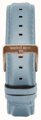 Weird Ape Poederblauw lederen 16mm band rosé gouden gesp ST01-000029