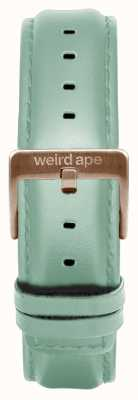 Weird Ape Mintgroen lederen riem van 16 mm, alleen rosé gouden gesp ST01-000042