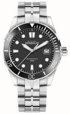 Michel Herbelin Heren trofee zilveren armband zwarte wijzerplaat 1660/N14B