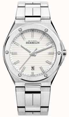 Michel Herbelin Heren roestvrij stalen armband wit horloge 12245/B12