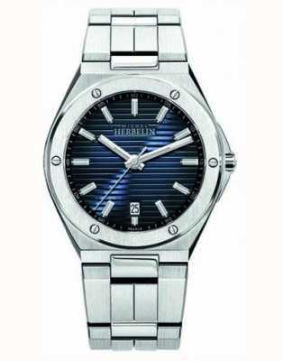 Michel Herbelin Heren roestvrij stalen horloge blauwe wijzerplaat 12245/B15