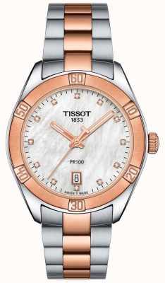 Tissot Dames pr100 sport chic tweekleurig armbandhorloge T1019102211600
