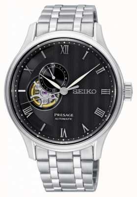 Seiko Presage heren automatische zwarte wijzerplaat roestvrij stalen armband SSA377J1