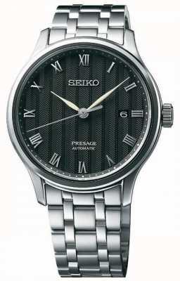 Seiko Presage heren automatische zwarte wijzerplaat roestvrij stalen armband SRPC81J1