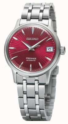 Seiko Voorkeur dames automatische horloge rode wijzerplaat roestvrij staal SRP853J1