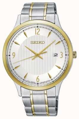 Seiko Klassiek herenhorloge met witte wijzerplaat en tweekleurig patroon SGEH82P1