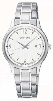 Seiko Horloge in wit wijzerplaat roestvrij staal, dameshorloge SXDG93P1