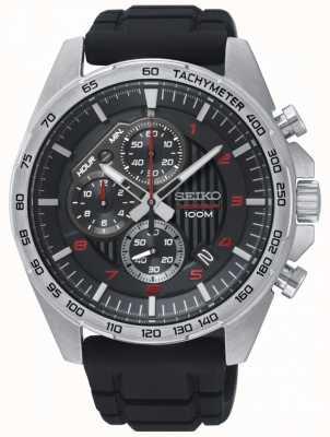 Seiko Heren motorsport zwart chronograaf rubberen bandhorloge SSB325P1