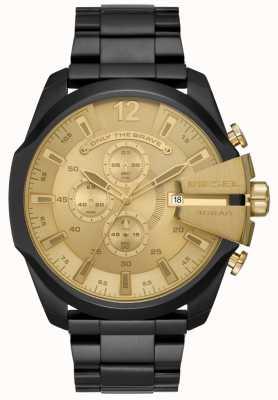 Diesel Heren mega chief black ion vergulde stalen armband gouden wijzerplaat DZ4485