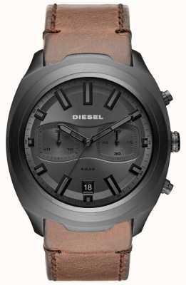 Diesel Heren tumbler grijs chronograaf bruin lederen band horloge DZ4491