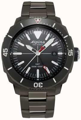 Alpina Mens seastrong diver gmt horloge met zwarte titanium coating AL-247LGG4TV6B