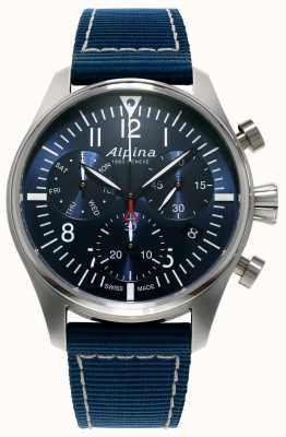 Alpina Heren startimer pilot chronograaf quartz blauw AL-371NN4S6