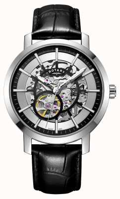 Rotary Herenhorloge met skeleton in zwart leer van Greenwich GS05350/02