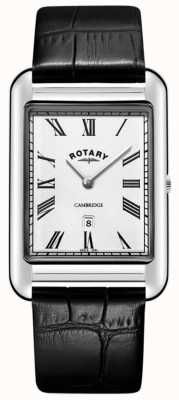 Rotary Heren cambridge datum vierkant zwart lederen band horloge GS05280/01