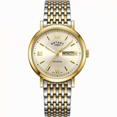 Rotary Heren windsor horloge | tweekleurige roestvrijstalen band | GB05301/09