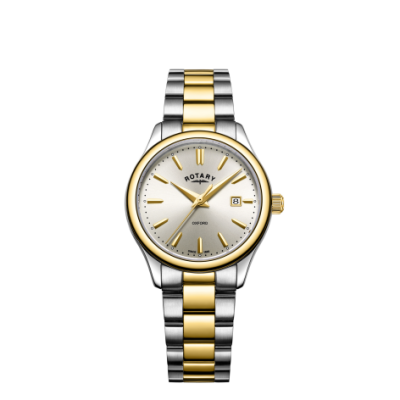 Rotary Dames oxford two tone gouden zilveren armband horloge LB05093/03